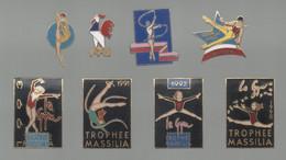 PINS PIN'S SPORTS 845 GYMNASTIQUE GYM FFG COQ TROPHEE MASSALIA MARSEILLE GOODWILL GAMES  LOT 8 PINS EGF - Ginnastica