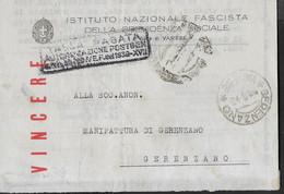 STORIA POSTALE REGNO - PIEGO I.N.P.S. DA VARESE 8.6.43 PER GERENZANO - TIMBRO TASSA PAGATA IN CARTELLA - Marcophilia