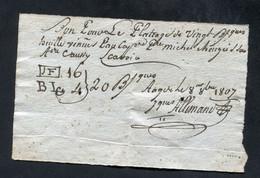 Billet De Nécessité époque Napoléonienne - Bon Pour Le Platrage De 20 Barriques D'huile - Agde 1807 (Hérault) - Bons & Nécessité