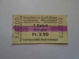 DT008     Schweiz - Switzerland  Sesselbahn Und SKILIFT BRISEN  - ALPBODEN - HALDIGRAT  1 Fahrt - Kinder  Ca 1960-80 - Andere