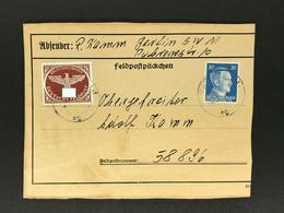 Dt. Reich Feldpost Päckchen Karte Berlin An Feldpost Nr. 58896 - Cartas