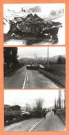 LOT DE 3 PHOTOS ORIGINALES 1985 VARILHES ARIEGE - ACCIDENT DE VOITURE COUPÉ SPORT A IDENTIFIER CONTRE CITROEN VISA - Automobiles