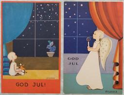Cartes Postales Art Déco - Illustrateur Rylander - Suède - Ange - Enfant - Noël - Etoiles - Poupée - Parfait état - Andere Illustrators
