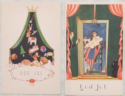 Cartes Postales Art Déco - Illustrateur Birger - Suède - Cadeaux - Jouets - Femme - Noël - Parfait état - Andere Illustrators
