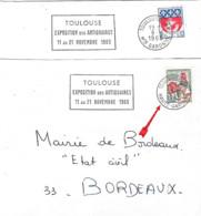 """Flamme Sécap De Toulouse RP """"Exposition Des Antiquaires ...1965"""" Haute-Garonne Et Hte Garonne - Oblitérations Mécaniques (flammes)"""