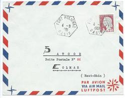 ENVELOPPE MARIANNE DECARIS / FORT POLIGNAC OASIS ALGERIE 1961 / POUR COLMAR - Covers & Documents