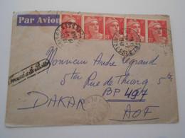 France Marianne De Gandon , Lettre De Paris 1948 Pour Dakar - 1945-54 Marianne (Gandon)