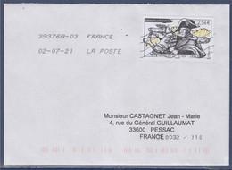 Principauté D'Andorre Oblitéré Napoléon 1er à  2.56€ Sur Enveloppe, Routage De La Tournée - Lettres & Documents