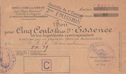 WW2 ARMEES Du NORD & Du NORD-EST - Service Des Automobiles BON De 500 Litres D'ESSENCE - Convoi T.M.39 - Documenti Storici