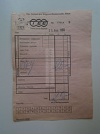 DT005 Cie Suisse Des Wagons -Restaurants  OLTEN  -Trans Europ Express TEE  1983 - Invoice (beer Or Wine) - Menus