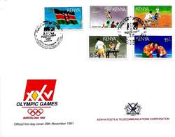 KENIA - 1992 Olimpiadi Di Barcellona Serie Compl.5v. Con Annullo (cerchi Olimpici) Su Busta Fdc Kenya Post - 5646 - Verano 1992: Barcelona