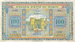 BILLET 100 F BANQUE D' ETAT DU MAROC - PROTECTORAT FRANCAIS - 1-5-1943 Alph. N163 P. 27a - Morocco