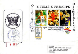 S.TOME' E PRINCIPE -  Olimpiadi Di Barcellona Foglietto Con Annullo (cerchi Olimpici, Olimphilex) Su Busta Fdc - 5642 - Verano 1992: Barcelona