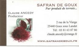 F124 / Publicitaire /advertising Business Card CARTE De VISITE  GOUX SOUS LANDET  ( 25 ) SAFRAN DE GOUX Clande ANCEDY - Altri Comuni
