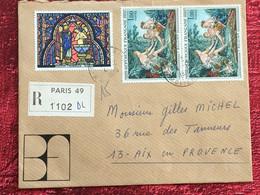 Experts Brun/Fils-PARIS 49 Marcophilie Lettre Recommandé 1970-☛Timbres 3 Tableaux Ste Chapelle Paris/F .Bouchet-tarif 5f - 1961-....