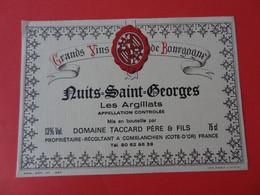 Etiquette Neuve Nuits Saint Georges Les Argillats Domaine Taccard Père & Fils - Bourgogne