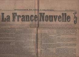 LA FRANCE NOUVELLE 08 02 1877 - CONSTANTINOPLE / PERA - SAINS - LE HAVRE - LE DIABLE BOITEUX - MONTMARTRE - - 1850 - 1899
