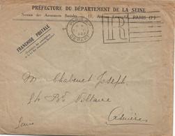 PARIS DEPART 1930 : Rare Flier Sur Enveloppe En Franchise De La Préfecture De La Seine, 25 Juin 1930 (Dreyfuss A00160). - 1921-1960: Periodo Moderno