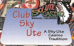 Sky Ute Casino - Ignacio, CO USA - BLANK Slot Card With 3 Lines Of Contact Info - Casino Cards