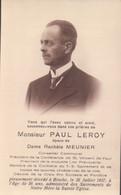 Doodsprentje Met Foto Paul Leroy (x Rachèle Meunier ) Binche 1937  Conseiller Communal Président St Vincent De Paul - Binche