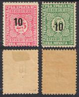 1928 - SHS Yugoslavia - Postage DUE PORTO Overprint - Mi. 62-63 I - MH Pair - Timbres-taxe