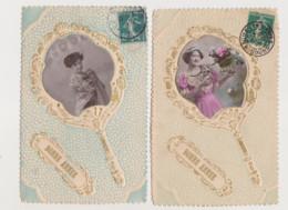 4 Cartes Fantaisie Gaufrées /Photo. De Femme Sur éventail - Women