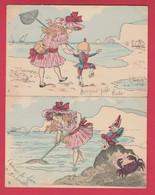 Fillette Sauvant Un Polichinelle De La Noyade , Illustré Par A.S. - Série De 6 Cartes - 1903 ( Voir Verso ) - Other Illustrators