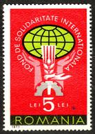 1973 ROMANIA - International SOLIDARITY - Charity CINDERELLA VIGNETTE LABEL - Wheat Ear Cogwheel Globe - Contra El Hambre