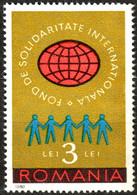 1980 ROMANIA - International SOLIDARITY - Charity CINDERELLA VIGNETTE LABEL -  Globe - Contra El Hambre