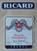 PASTIS  De Marseille, RICARD, 100 Cl, 45°, TB - Other