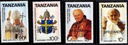 TANZANIA - SPECIMEN SAMPLE - STAMPS - POPE JOHN PAUL II BLOCK MINT NOT HINGED SOUVENIR - Pausen