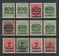 GERMANY REICH 1923 WEIMAR Mi 301-312 OVERPRINTS MNH ** FULL SET - Nuevos