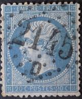 22 Pli, Obl GC 2145D Lyon-Vaise (68 Rhône ) Ind 3 ; Frappe TB Centrée - 1849-1876: Classic Period