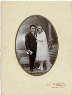 Photo : Jolie Photo Couple De Mariés , Photographe  G. CHAMPTOUX ET R . DENIEAU à Beaumont Sur Sarthe  . - Anciennes (Av. 1900)