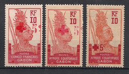 Gabon - 1915-17 - N°Yv. 79 - 80 - 81 - Croix Rouge - Complet - Neuf * / MH VF - Neufs