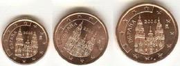 Spain Set 3 Coins 1 2 5 Cents 1999 UNC - 25 Peseta