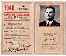 MILITARIA. CARTE DE CIRCULATION En 2è Et 3è CLASSES Sur Les LIGNES De La S.N.C.F  Et Des COMPAGNIES SECONDAIRES. 1946. - Documenten