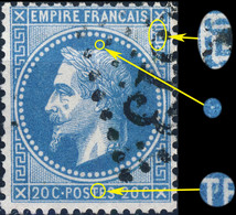 France - Yv.29B 20c Empire Lauré T.2 Pos.090A2 (4è état) - Obl. TB - 1863-1870 Napoleon III Gelauwerd