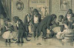 Embossed Human Monkeys Kunzli  Singe Humain Soirée Mondaine Gaufrée Baise Main - Singes