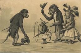 Embossed Human Monkeys Kunzli  Singe Humain  Gaufrée Promenade Enfants Jeu Cerceau Envoi Sapeur Pompier Paris - Singes