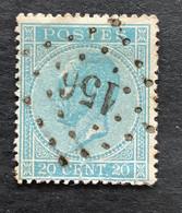 Leopold I In Profiel OBP 18A - 20c Gestempeld  LP156 GREZ-DOICEAU - 1865-1866 Linksprofil