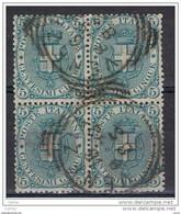 REGNO:  1891/96  STEMMA  -  5 C. VERDE  BL. 4  US. -  SASS. 59 - Used