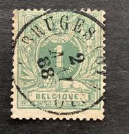 Liggende Leeuw OBP 26 - 1c Gestempeld  DC BRUGES - 1869-1888 Lying Lion