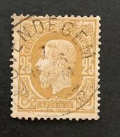 Leopold II OBP 32 - 25c Gestempeld  EC LOVENDEGEM - 1869-1883 Leopold II