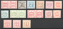 Germania Thurn & Taxis 1865/66 11 Val.+ 3 Pair */**/MH/MNH VF/F - Thurn And Taxis