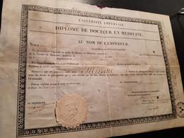 DIPLOMES DE DOCTEUR EN MEDECINE AU NOM DE L EMPEREUR EN 1815. POUR M MIREAU NEE A  VOUVRAY EN  1780 INDRE ET LOIRE - Diplômes & Bulletins Scolaires
