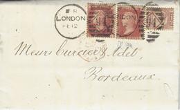 1877- Lettre De Londres  Affr. 2 1/2 Pence  Pour Bordeaux - Lettres & Documents