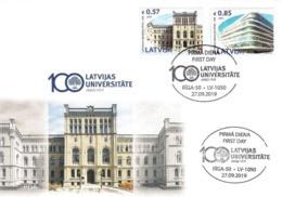 Latvia Lettland Lettonie 2019 (16) University Of Latvia - 100 Years. Architecture (unaddressed FDC) - Lettland