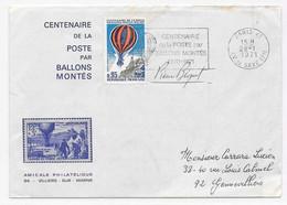 GUERRE SIEGE 1870 BALLON MONTE Souvenir 1971 Centenaire Poste Paris Villiers Sur Marne Signé Par PIERRE BEQUET - 1870 Siège De Paris