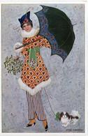 MITZI MARBACH - Femme Art Nouveau - Femme Et Chien Sous Parapluie  - M. MUNK WIEN - N° 921 (7453 ASO) - Andere Illustrators